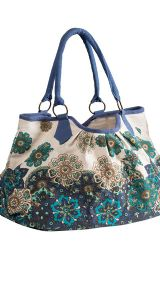 Hippy Bag~Large Hippy Floral Print Shoulder Bag Blue & White Flower Pattern Canvas Bag~Fair Trade by Folio Gothic Hippy SB250
